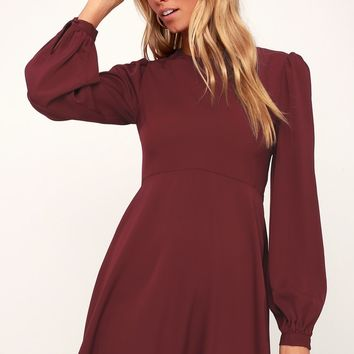 Follow Me Burgundy Long Sleeve Dress