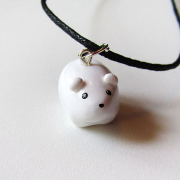 Cute White Miniature Polar Bear Charm Necklace