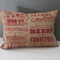 Rustic Christmas Burlap Pillow: Dark Red Typographic Print Throw Pillow, Modern Rustic Holiday Decor, Vintage Inspired Jute Lumbar Pillows
