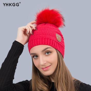 YHKGG Fashion 2017 Raccoon Pom Pom Hat Winter Warm Women Elastic Knitted Cashmere Hats Hemp Pattern Soft Caps female