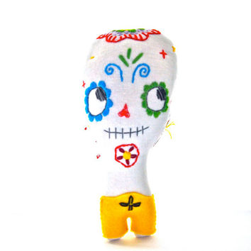 Day of the dead sugar skull skeleton doll embroidered linen Dia de los muertos cloth doll