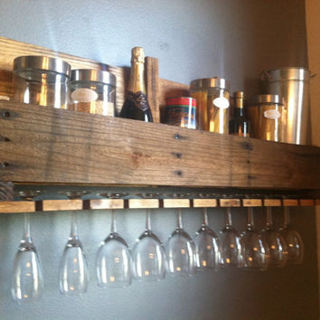 Pallet Art Wine Glass Rack with Storage for Wine Bottles or...