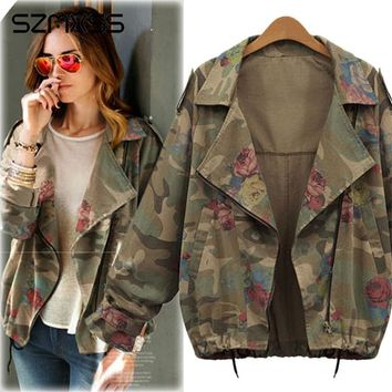 Trendy Women's Basic Jackets Coats Plus Size 4XL Army Green Camouflage Coats Zip Cardigans Denim Outwear Bomber Casaco Feminino Jaqueta AT_94_13