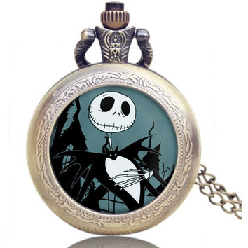 Vintage Hunger Games and The Nightmare Before Christmas Pocket Watch Unisex Jewelry Gift for Men Woman