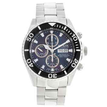 Invicta 18912 Men's Pro Diver Reserve Black MOP Dial Steel Bracelet Chrono Automatic Dive Watch