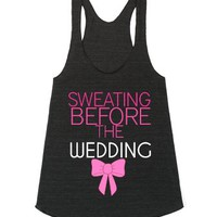 Sweating Before The Wedding-Female Athletic Tri Black Tank