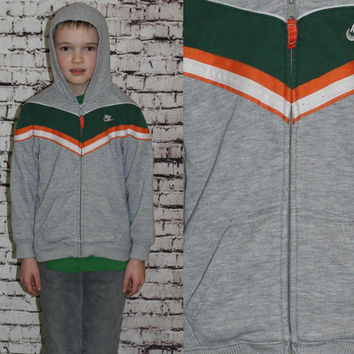 90s Nike Sweatshirt Hoodie Jacket Athletic Zip Up Grey Green White Orange Boys Kids Youth 7 8 S M Retro Hipster Girls jumper 80s