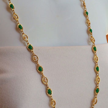 Unusual Vintage Goldette Necklace-- Kelly Green Stones and Faux Pearl Gold toned Necklace, SIGNED--30""