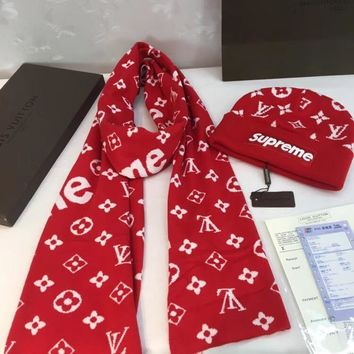 Louis Vuitton x Supreme Women Fashion Wool Winter Hat Cap Scarf Scarves Set Two-Piece