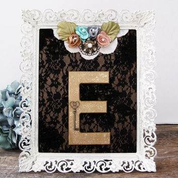 Letter E Nursery Art Baby Girl Nursery Pink Rose Gold Flowers Lace