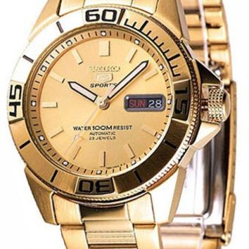 Seiko SNZE14 Men's Sports 5 Gold Tone Automatic Watch