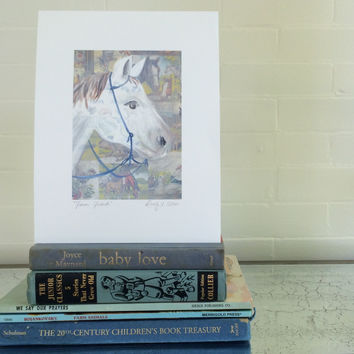horse art, horse decor, horse print, horse painting, white horse, farmhouse decor, farm decor, farmhouse chic, farm animal prints