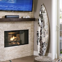 Glass mirror mosaic surfboard - Solana Beach
