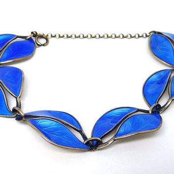 Blue Leaves Bracelet - Vintage by David Andersen in Norway Sterling Silver