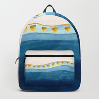 Blue waves and gold strokes Backpack by vivigonzalezart