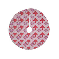 "Mydeas ""Colored Candy Hearts Dotted"" Pink Red Vector Christmas Tree Skirt"