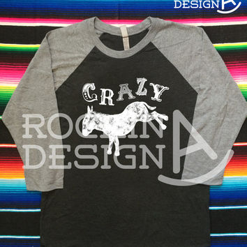 Crazy Ass / Bucking Burro / Donkey / baseball tee / Unisex 3/4 sleeve raglan