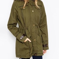Brave Soul | Brave Soul Cotton Twill Parka With Oversized Faux Fur Trimmed Hood at ASOS