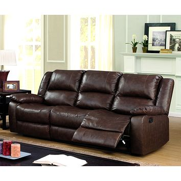Chandler Transitional Top-Grain Leather Sofa Recliner, Brown