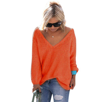 Women Sweater Long Sleeve V Neck Oversized Sexy Women  Knitted Sweaters Pullovers  LJ5667M
