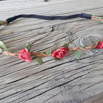 Flower Crown, Boho flower headband, festival flower crown, wedding headband, floral halo, flower head wrap, flower crown, RED valentines