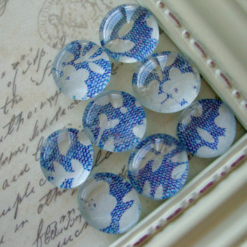Blue and White Floral Magnets, Decorative, Vintage Magnets, Fridge Magnets, Office Decor, Magnet Board, Rare Earth, Neodymium, Dry Erase