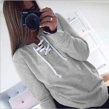 Gray Lace-Up Sweatshirt