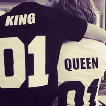 summer tops 2016 king queen couple clothes couple clothes  anime 2017 couple shirt funny t shirts women kings queens