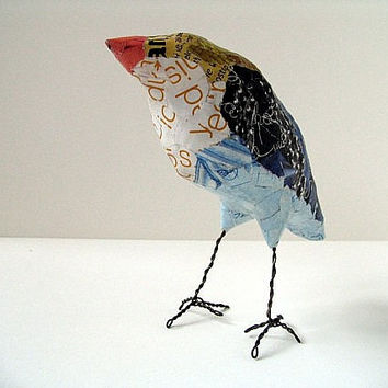 The Weaver, blue bird sculpture art object paper mache' bird original art whimsical creature recycled materials OOAK