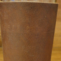 Leather Pint sleeve with custom lettering