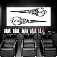 Wall Decal Vinyl Sticker Decals Art Decor Design Hair Salon Scissors Retro Curls Beauty Hair Stylist Vintage Fashion Barber Cosmetic M1534