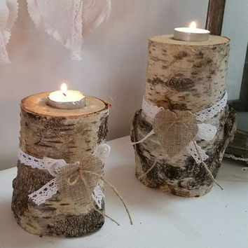 Set of 2 Natural Rustic Reclaimed Birch Wood Candle Holders,Birch Wood Candle Holders,Birch Tealight Holders, Rustic Wooden Tealight Holders