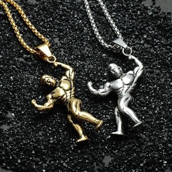 Muscular Bodybuilder Pendant Necklace