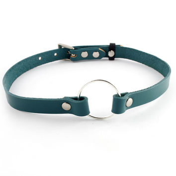 Teal Leather Charm Choker
