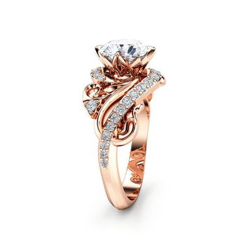 Special Reserved - Art Nouveau Moissanite Engagement Ring 14K Rose Gold Ring Round Cut - first payment
