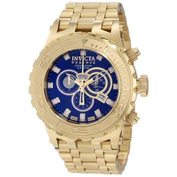 Invicta 6902 Men's Reserve Subaqua Chronograph Blue Dial Gold Tone Steel Bracelet Dive Watch