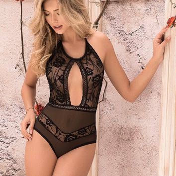 Sexy Black Halter Lace Teddy