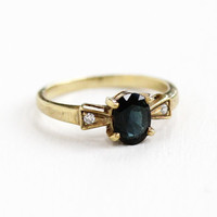 Vintage 9ct Gold Sapphire & Diamond Ring - Vintage Size 6 Mid-Century 1940s 1950s Alternative Engagement Fine Jewelry