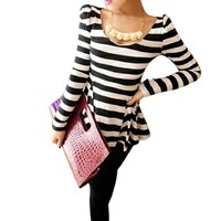 Lady Stretchy Scoop Neck Long Sleeves Stripes Tunic Shirt Black White S