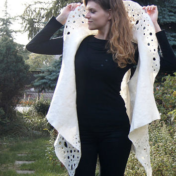 Unique felted vest, natural white wool vest with fancy collar and gold leaves. OOAK