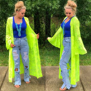 NEON YELLOW lace cardigan with bell sleeves