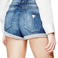 1981 High-Rise Denim Cuffed Shorts in Indecent Wash at Guess