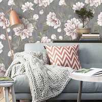 Vintage Floral PEEL & STICK Repositionable  Fabric Wallpaper
