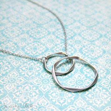 Double Circle Long Lariat Necklace - Circle Necklace, Long Silver Necklace, Layering Necklace, Delicate Jewelry, Infinity Necklace
