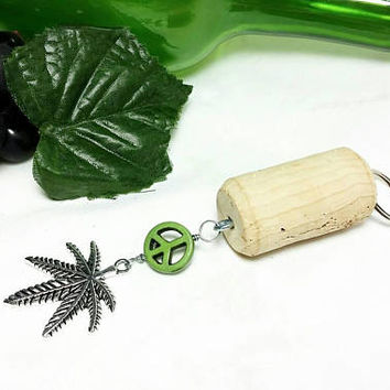 Upcycled Wine Bottle Cork Keychain/Wine Glass Peace Marijuana Key Chain/Repurposed Vino Winery Cork/Weed Leaf Key Ring/Ganja