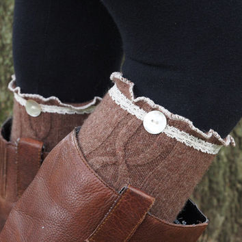 Buy 2 get 1 FREE-Boot Socks-Lace Boot Socks-Brow Cable Knit Wool-Knee High Socks-Leg Warmers