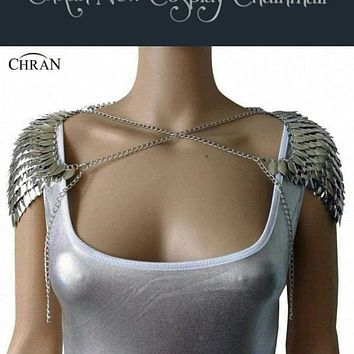 Chran New Luxury Men Women Punk Chainmail Layer Metal Chain Shoulder Necklace Body Amor Cosplay Jewelry CRS201 Macchar Cosplay Catalogue