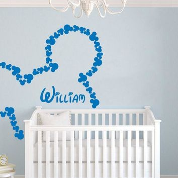80pcs/set Personalized Custom Baby Name wall sticker,nursery Mickey Mouse DIY Vinyl wall art Gift kids room decor