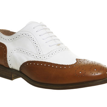 Ask the Missus Brooklyn Brogues Tan White Leather - Smart