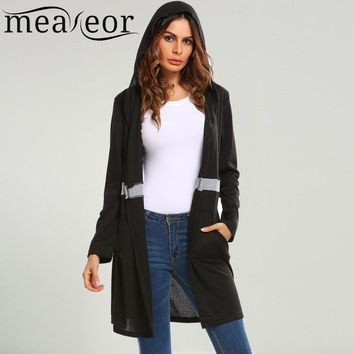 Meaneor Women Hooded Patchwork Knit Long Cardigan Long Sleeve Spring Autumn Casual Sweaters Open Front Knitted Female Cardigans